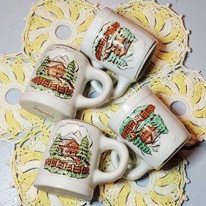 SOLD▪︎Ceramarte Cabin Mini Mugs/Shot Glasses (4)